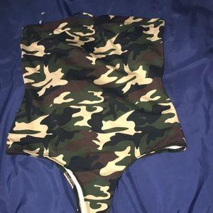 Cute Strapless Army BodySuit
